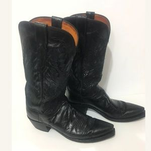 LUCCHESE Leather Exotic Western Cowboy Boots Fancy